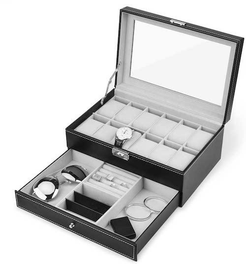 JS NOVA JUNS 12 Slots PU Leather Watch Box