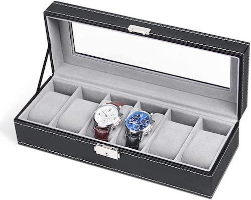 NEX 6 Slot Leather Watch Box Display Case Organizer